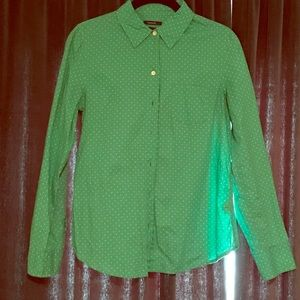 Green micro polka dot button up